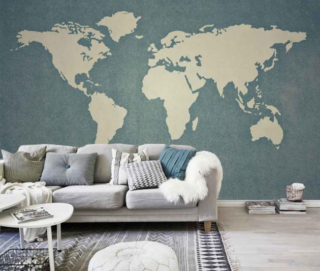 kaart van de wereld - Wereldkaart Behang