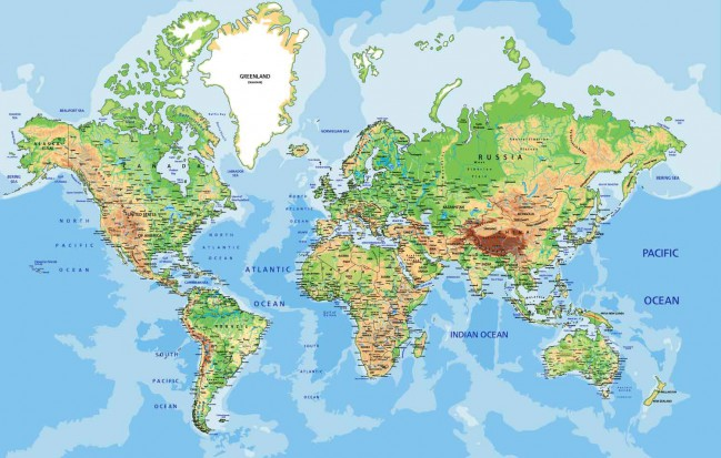 Mapa Físico Del Mundo.Fotomural Mapa Fisico Del Mundo