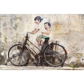 Fotomural Graffiti niños en bici